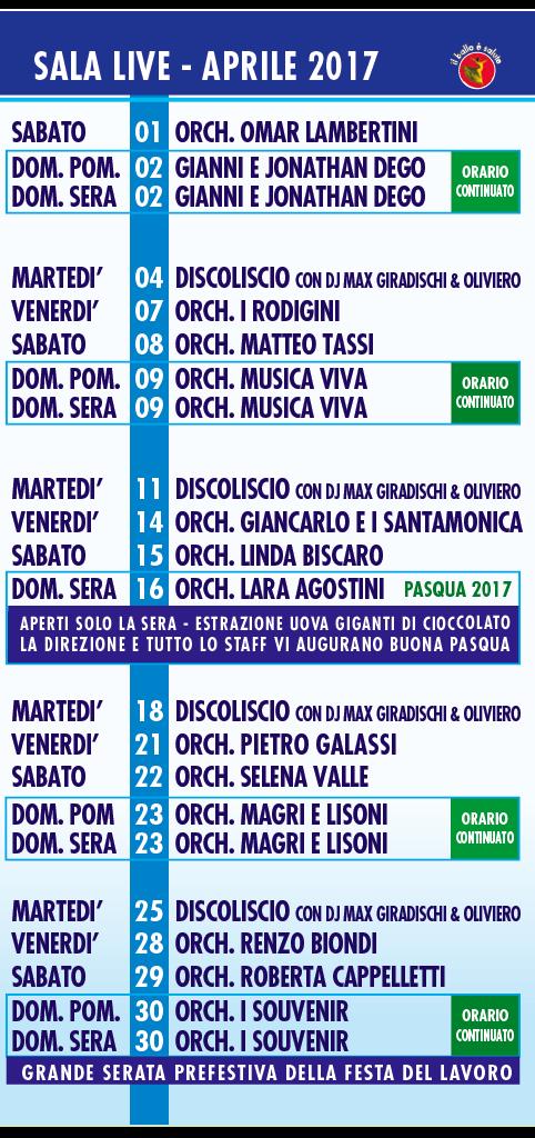I Rodigini Calendario.Programma Mese Di Aprile 2017 W La Musica